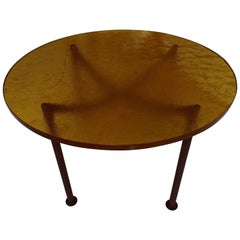 Art Deco Coffee Table Thick Yellow Orange Glasstop on Cubistic Copper Legs