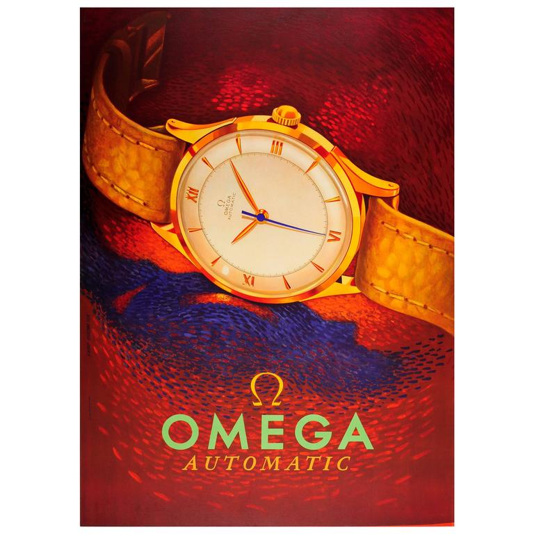Original Vintage Swiss Watch Advertising Poster for Omega ...