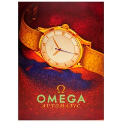 Original Vintage Swiss Watch Advertising Poster for Omega Automatic Watches