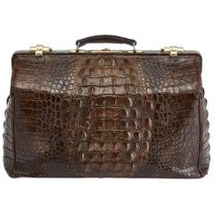 Large Early 20th Century Crocodile Gladstone Bag, circa 1910-1915