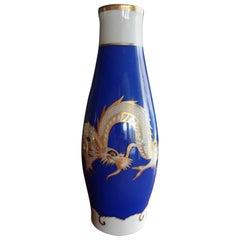 1930 Hand-Painted Cobalt Blue Gold White Porcelain Vase Fraureuth Saxony