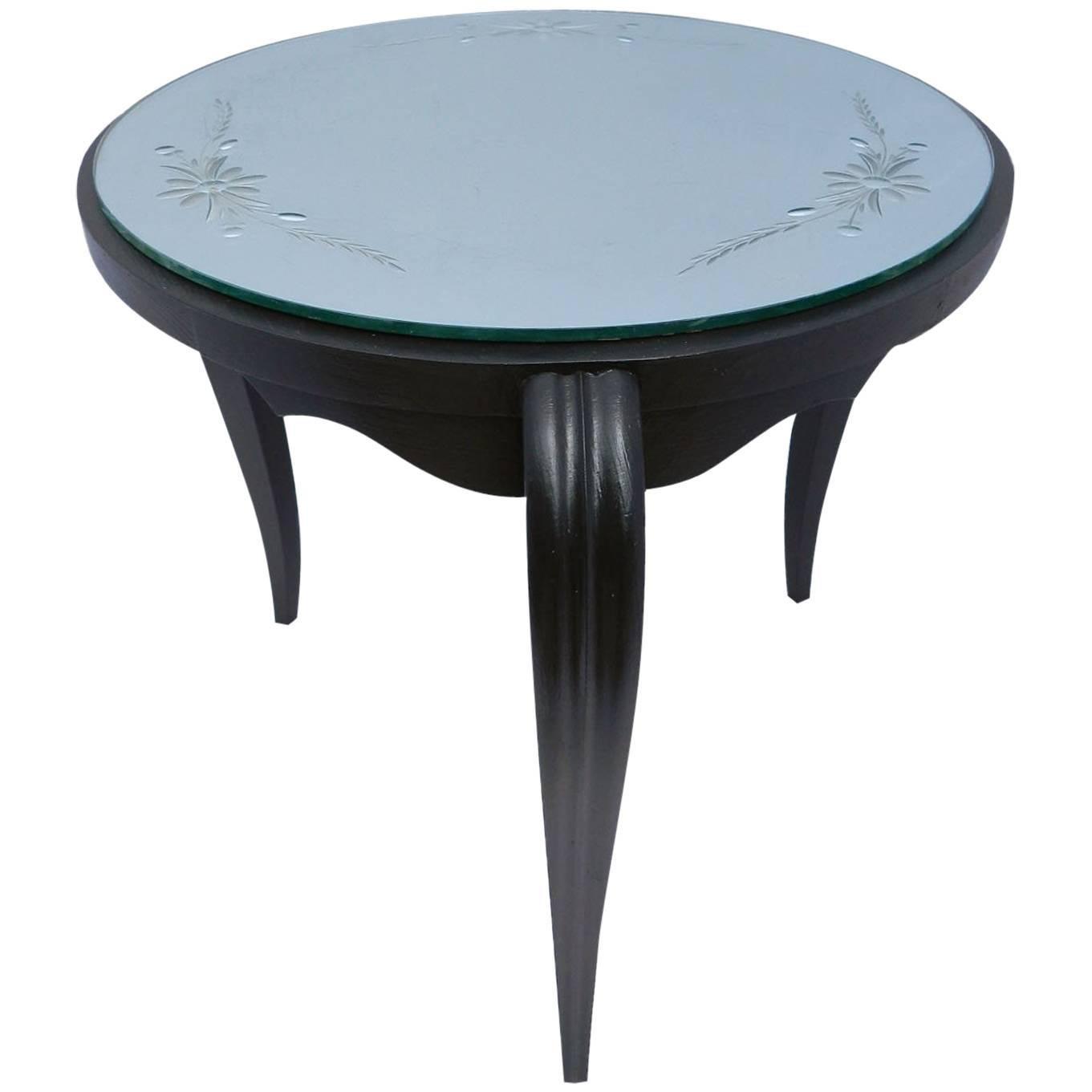 Art Deco Table Mirror Top Ebonized Coffee Occasional