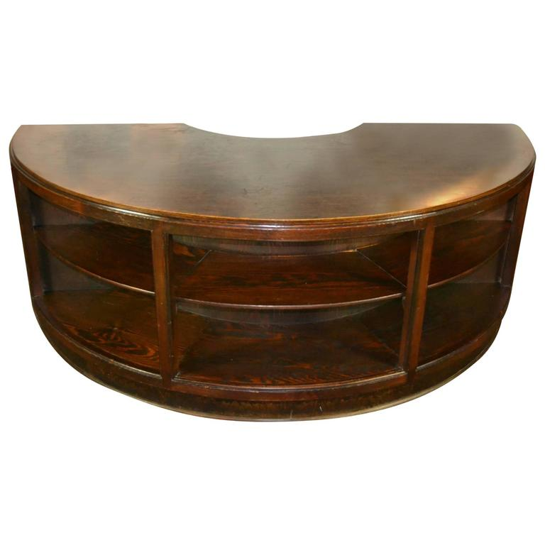 Antique Half Round Wooden Executive Desk For Sale