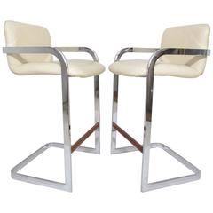 Pair of Chrome Cantilever Bar Stools by Design Institute America (DIA)