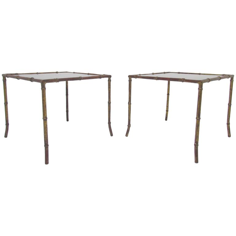 Pair of Hollywood Regency Gilded Faux Bamboo End Tables, Manner of Maison Bagues