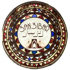 Antique Stained Glass Sign Window Zanzibar Victorian, 19th Century