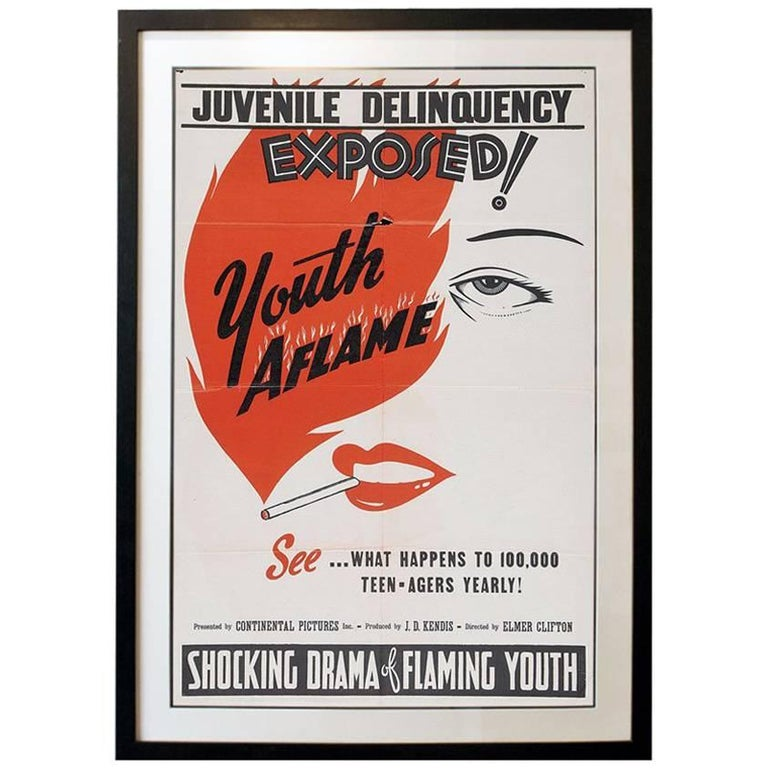 """""""Youth Aflame"""" Film Poster, 1944 For Sale"""