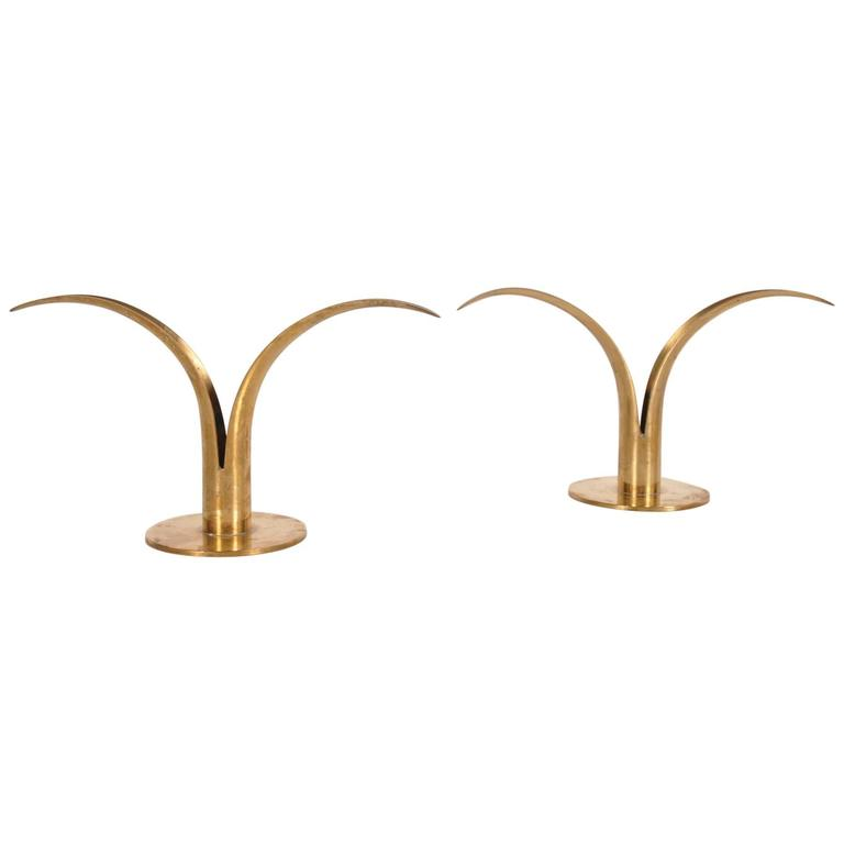 "Pair of ""Liljan"" Brass Candle Holders by Ivar Alenius for Ystad Metall, Sweden"