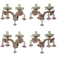 Set of Four French Pink Fuchsia Ribbon Murano Drops Sconces