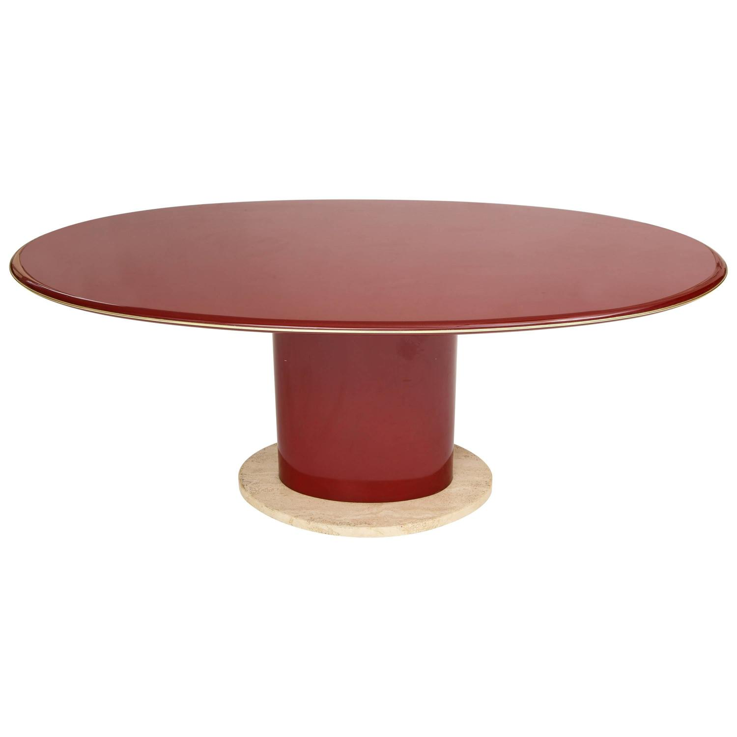 Italian Red Lacquer Dining Table, Desk, Travertine Base And Gold Trim, 1980s