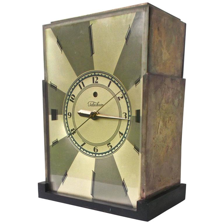 Paul Frankl Telechron American Moderne Deco Clock, 1928 For Sale