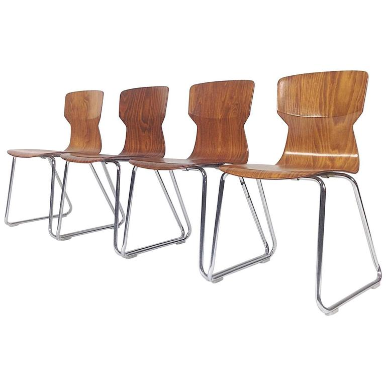four casala pagholz plywood school chairs 1