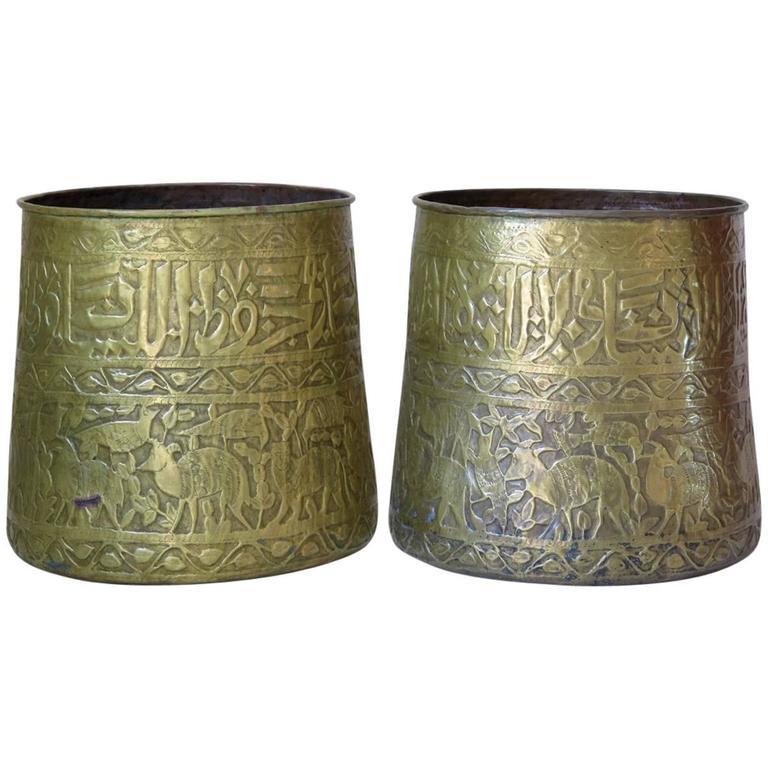 Large Pair of Oriental Copper Pots, circa 1930s For Sale