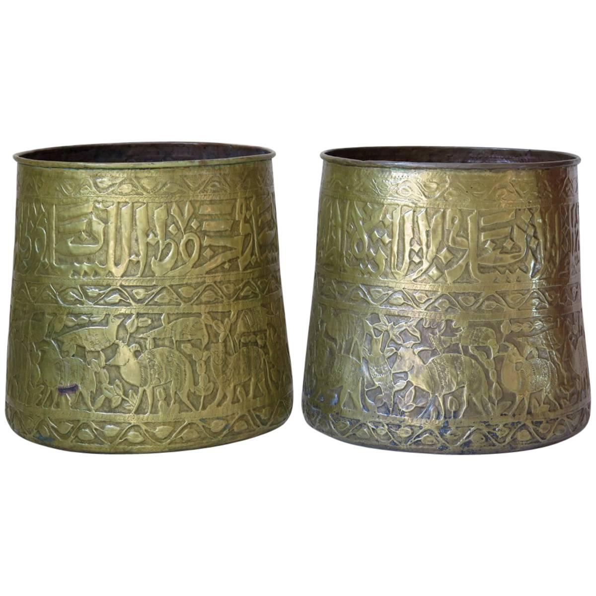 Large Pair of Oriental Copper Pots, circa 1930s