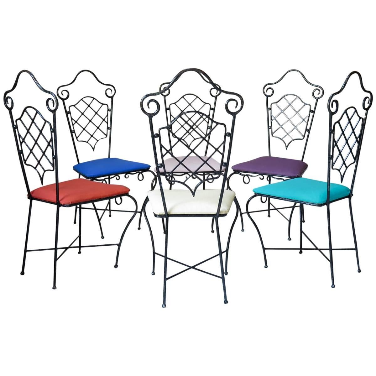 Six Chairs Attributed to René Prou, France, 1940s