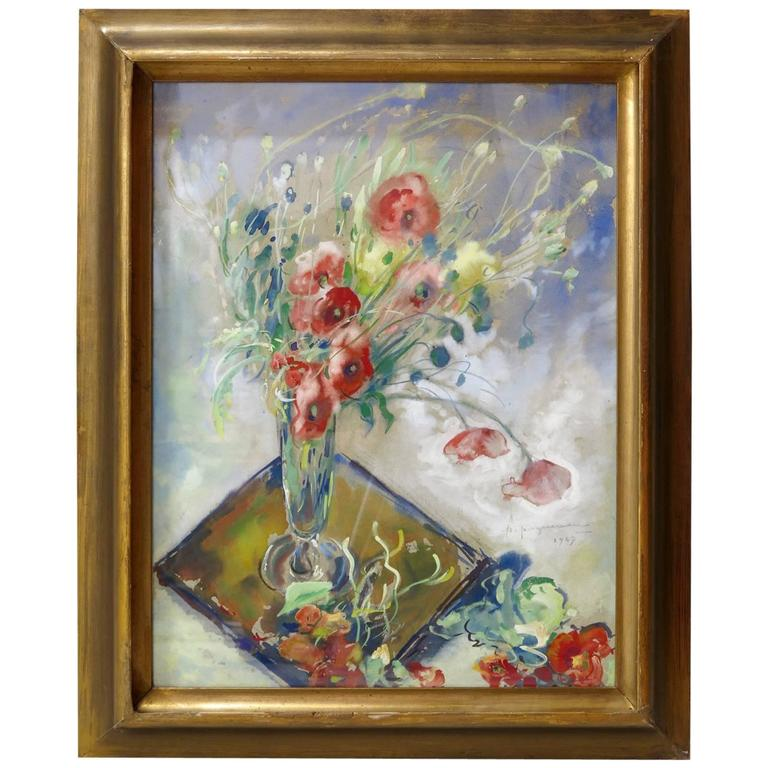 Poppy Watercolor by P. Paquereau, France, 1947 For Sale