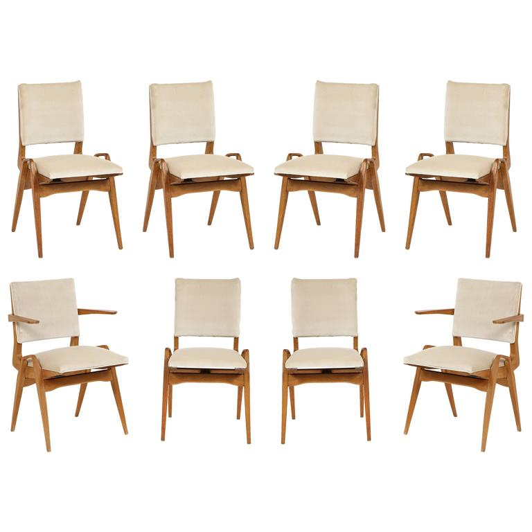 French Architectural Midcentury Dining Chairs White Velvet Wood Maurice Pre  1950 For Sale