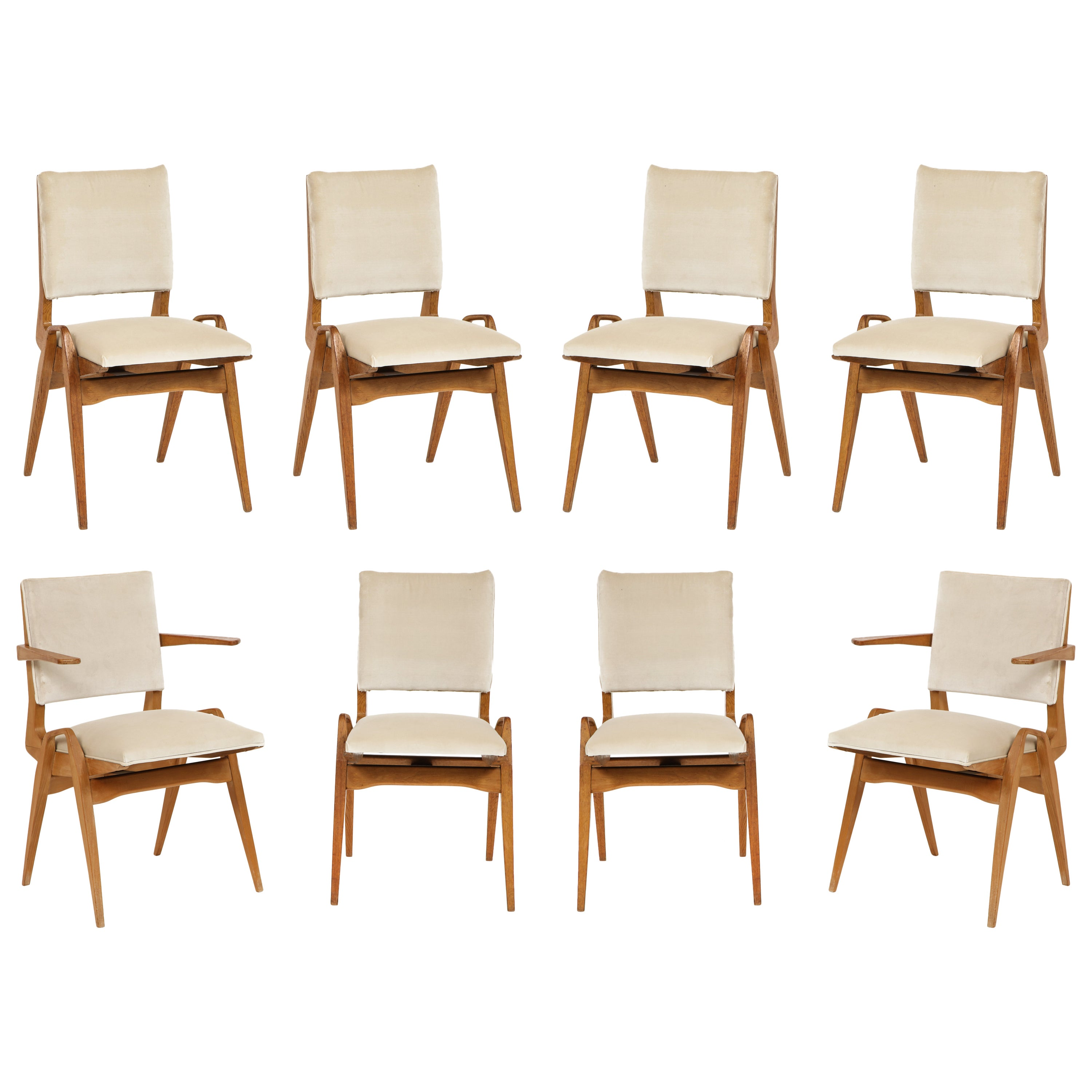 French Architectural Midcentury Dining Chairs White Velvet Wood