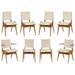 French Architectural Midcentury Dining Chairs White Velvet Wood Maurice Pre 1950