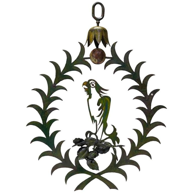 "Large Painted Iron ""Parrot"" Sign, France, Early 20th Century"