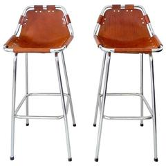 Original Pair of Les Arcs Bar Stools by Charlotte Perriand, France, 1960