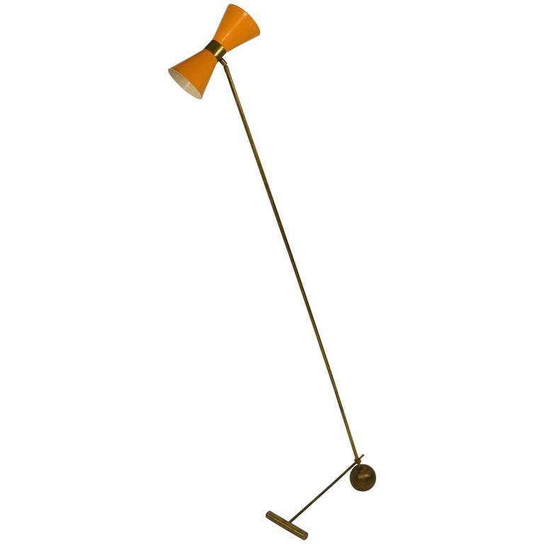 Italian Stilnovo Style Brass and Enamel Floor Lamp