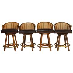 Set of Four McGuire Bamboo and Cane Swivel Barstools