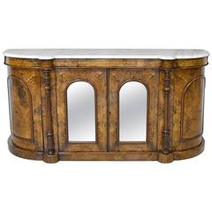 19th Century English Sideboard in Burl Walnut with Marquetry and Marble Top