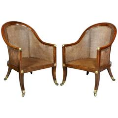 Pair of Regency Faux Rosewood Caned Tub Chairs