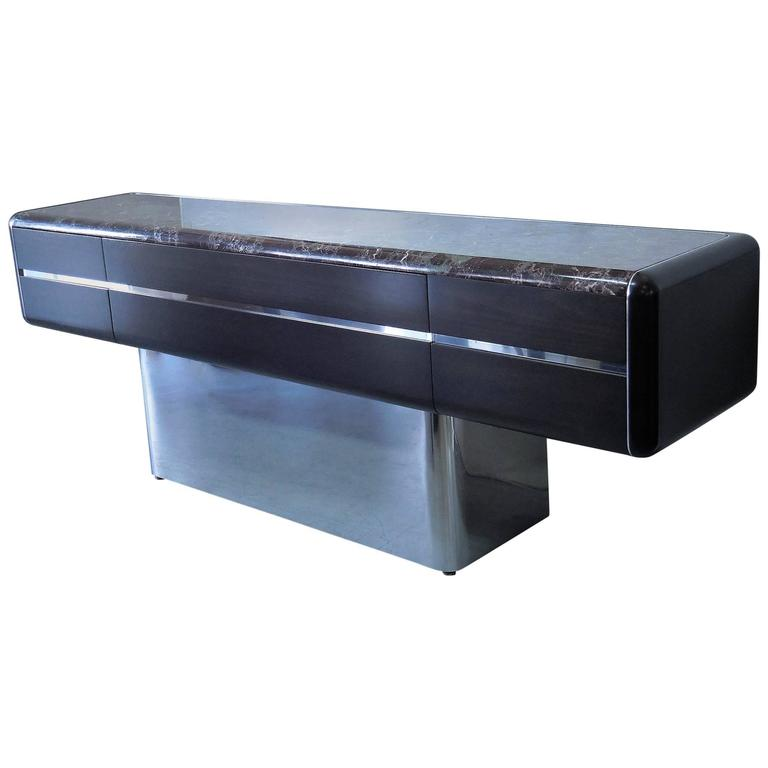 Vladimir Kagan Console Credenza with Marble Top and Polished Base