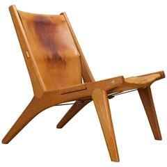 Hunting Lounge Chair by Uno & Osten Kristiansson in Oak Leather Sling