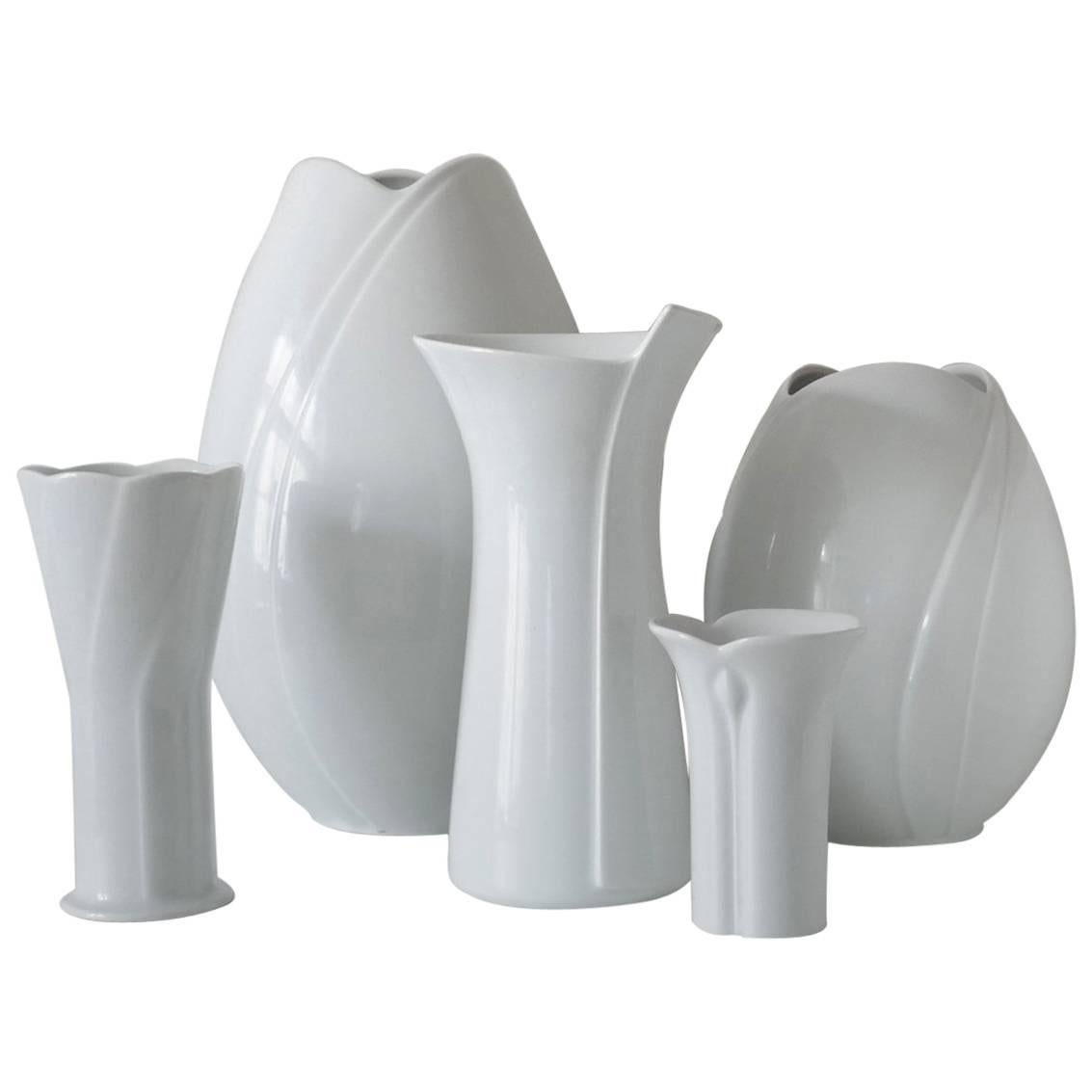 Set of Five German White Porcelain Vases by Arzberg Bavaria, 1960s