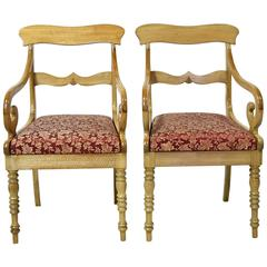 Pair of  Swedish Biedermeier Armchairs in Walnut with Upholstered Seats, c. 1825