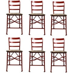 Set of Six Industrial Angle Steel and Wood Chairs