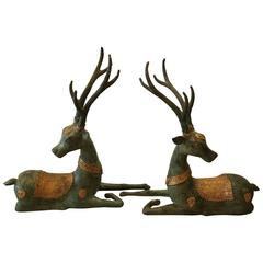 Pair of Patinated and Parcel Gilt Bronze Deer Stags