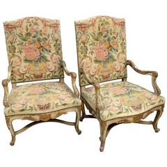 Pair of 19th Century French Painted and Gilt Armchairs