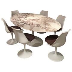 Eero Saarinen Calacatta Marble Table and Tulip Swivel Chairs set by Knoll