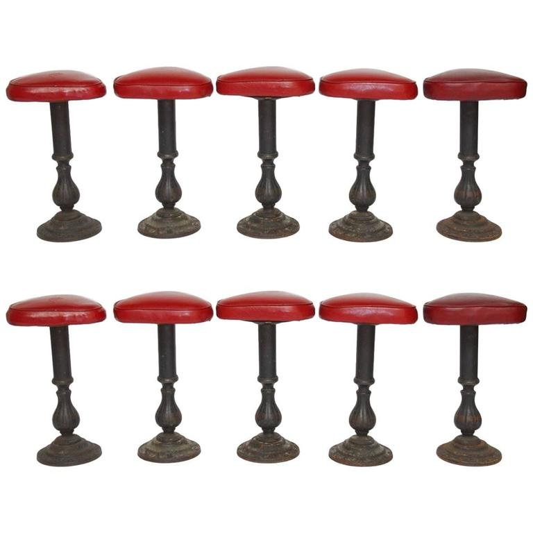 Set of Five Victorian Cast Iron Parlor Barstools 1