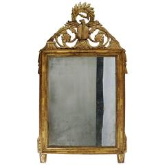 Beautiful Late Louis XVI Period Carved Giltwood Mirror France, Late 18th Century