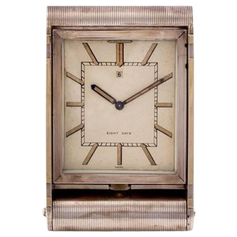 Art Deco Sterling Silver and Gold Asprey Jaeger Lecoultre 8 Day Travel Clock For Sale
