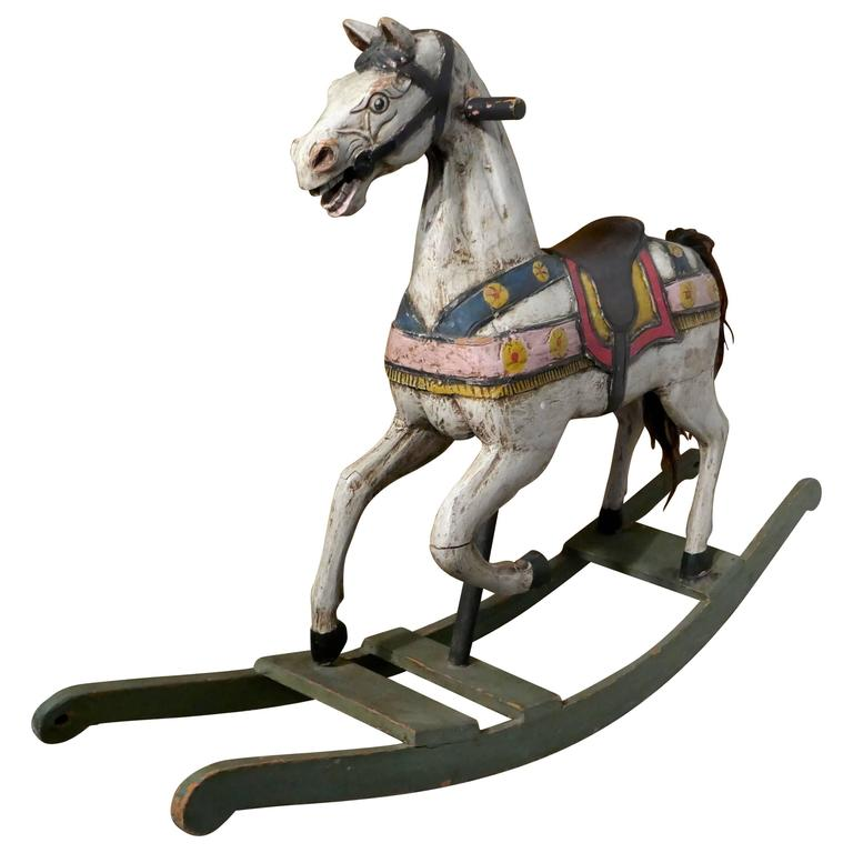 19th Century Carved and Painted Wooden Rocking Horse