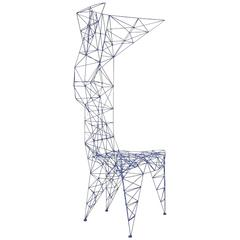 Pylon Chair by Tom Dixon in Royal Blue Metal Lattice