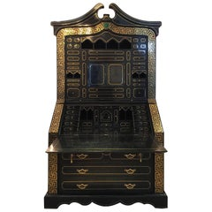 Maitland-Smith Tessellated Stone and Brass Inlay Secretaire