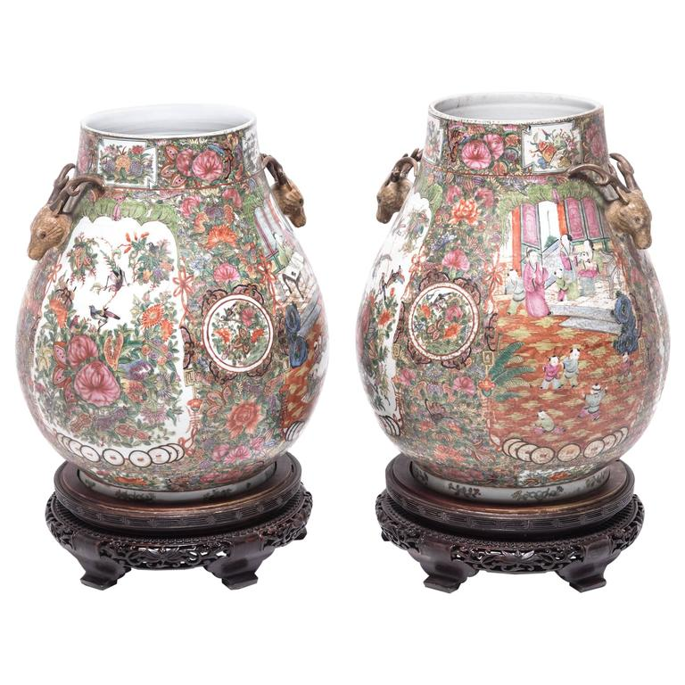 Pair of Chinese Famille Rose Hu Vases