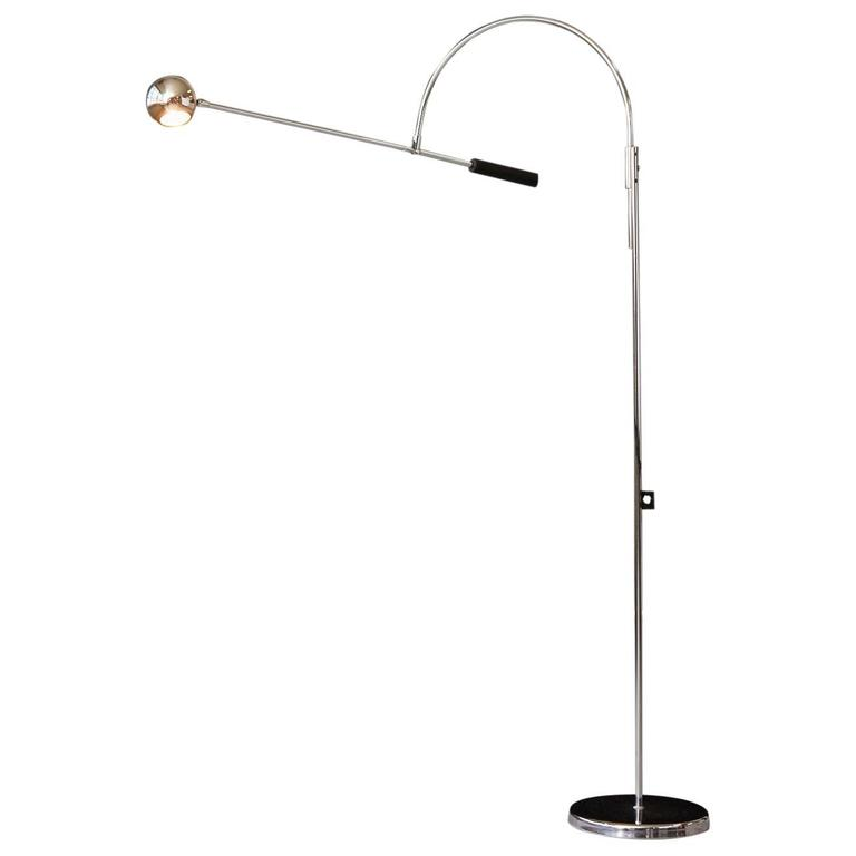 Adjustable Chrome Floor Lamp 'Orbiter' by Robert Sonneman