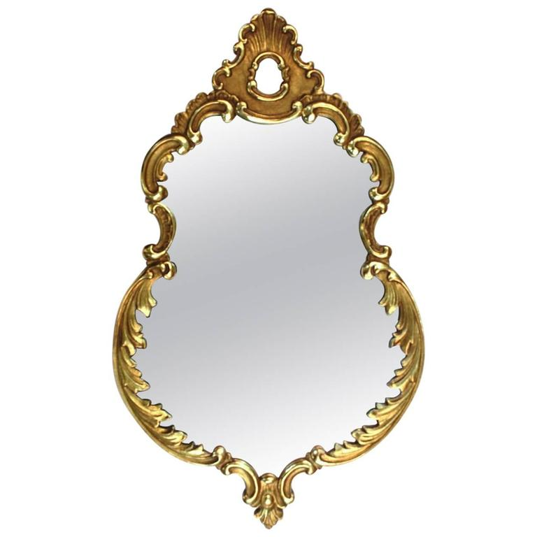 1940s Italian Hand-Carved Gold Leaf Mirror
