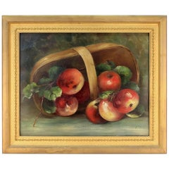 19th Century Still Life on Tin, Signed by Susan E. Athearn