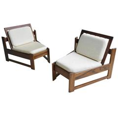 Pair of Brazilian Lounge Chairs in Rosewood, 1960s