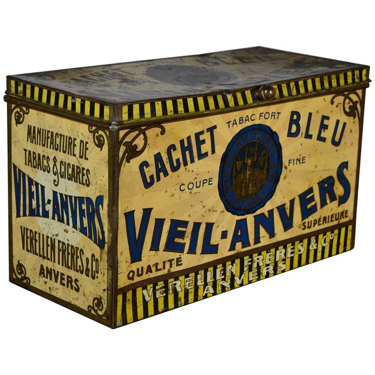 Early 20th Century Tobacco Box Antwerp , Tin Decorative Box