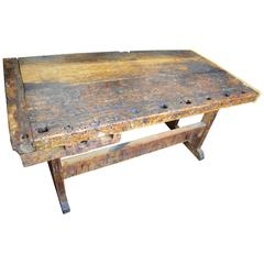 Primitive Wooden Workbench, Late 1800s